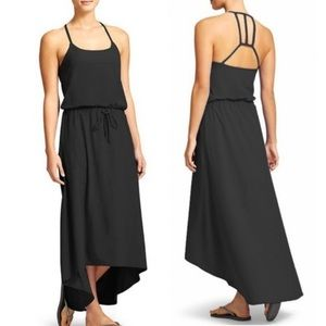 Athleta High Low Charcoal Novella Maxi Dress